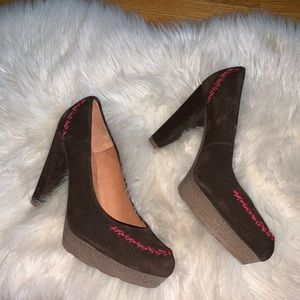 Anthropologie holding horses brown suede pumps 38
